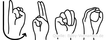 Juno im Fingeralphabet der Deutschen Gebärdensprache