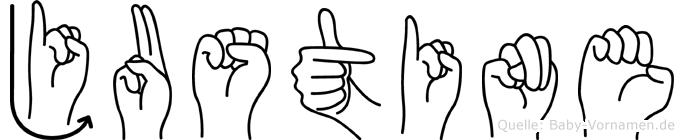 Justine in Fingersprache für Gehörlose