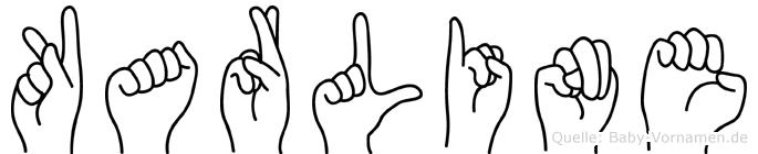 Karline im Fingeralphabet der Deutschen Gebärdensprache