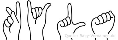 Kyla im Fingeralphabet der Deutschen Gebärdensprache