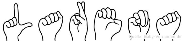 Larena im Fingeralphabet der Deutschen Gebärdensprache