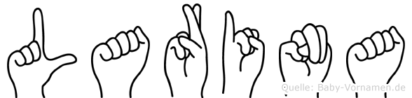 Larina im Fingeralphabet der Deutschen Gebärdensprache