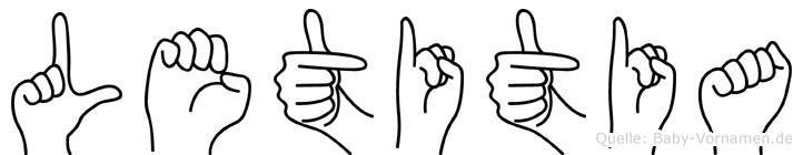 Letitia im Fingeralphabet der Deutschen Gebärdensprache