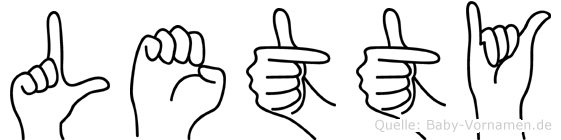 Letty im Fingeralphabet der Deutschen Gebärdensprache