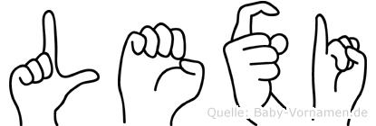 Lexi im Fingeralphabet der Deutschen Gebärdensprache