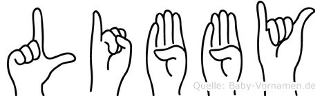 Libby im Fingeralphabet der Deutschen Gebärdensprache