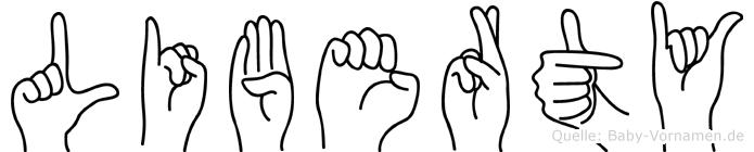 Liberty im Fingeralphabet der Deutschen Gebärdensprache