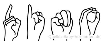 Dino im Fingeralphabet der Deutschen Gebärdensprache