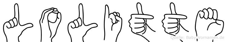 Lolitte im Fingeralphabet der Deutschen Gebärdensprache