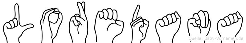 Loredana im Fingeralphabet der Deutschen Gebärdensprache