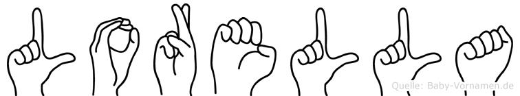 Lorella im Fingeralphabet der Deutschen Gebärdensprache