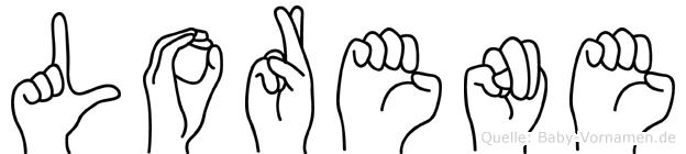 Lorene im Fingeralphabet der Deutschen Gebärdensprache