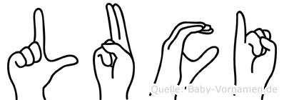 Luci im Fingeralphabet der Deutschen Gebärdensprache