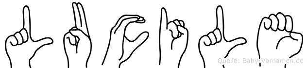 Lucile im Fingeralphabet der Deutschen Gebärdensprache