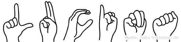 Lucina im Fingeralphabet der Deutschen Gebärdensprache