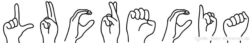 Lucrecia im Fingeralphabet der Deutschen Gebärdensprache