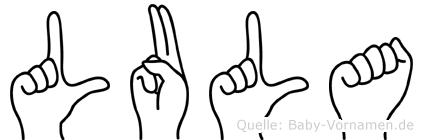 Lula im Fingeralphabet der Deutschen Gebärdensprache