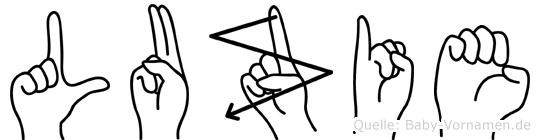 Luzie im Fingeralphabet der Deutschen Gebärdensprache