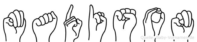 Madison im Fingeralphabet der Deutschen Gebärdensprache