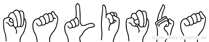 Malinda im Fingeralphabet der Deutschen Gebärdensprache