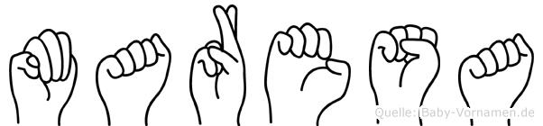 Maresa im Fingeralphabet der Deutschen Gebärdensprache