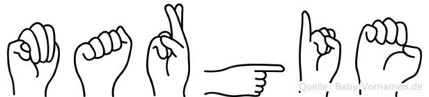 Margie im Fingeralphabet der Deutschen Gebärdensprache