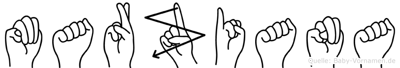 Marziana im Fingeralphabet der Deutschen Gebärdensprache