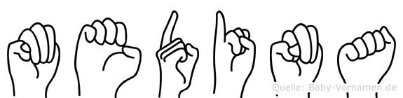 Medina im Fingeralphabet der Deutschen Gebärdensprache