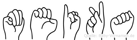 Meika im Fingeralphabet der Deutschen Gebärdensprache