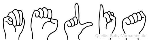 Melia in Fingersprache für Gehörlose