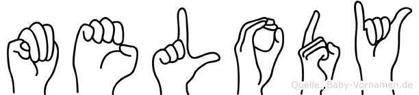 Melody im Fingeralphabet der Deutschen Gebärdensprache