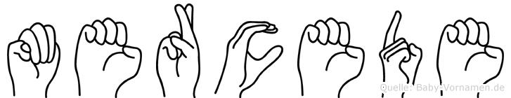 Mercede im Fingeralphabet der Deutschen Gebärdensprache