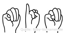 Min in Fingersprache für Gehörlose