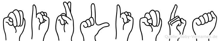 Mirlinda im Fingeralphabet der Deutschen Gebärdensprache