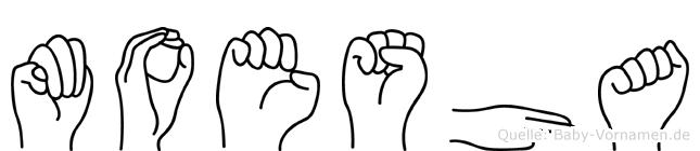 Moesha im Fingeralphabet der Deutschen Gebärdensprache