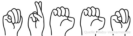 Mreen im Fingeralphabet der Deutschen Gebärdensprache