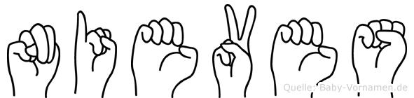 Nieves im Fingeralphabet der Deutschen Gebärdensprache