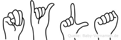 Nyla im Fingeralphabet der Deutschen Gebärdensprache