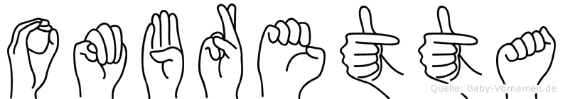 Ombretta im Fingeralphabet der Deutschen Gebärdensprache