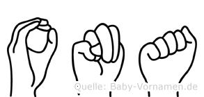 Ona in Fingersprache für Gehörlose