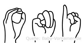 Oni in Fingersprache für Gehörlose