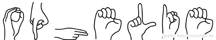 Ophelie im Fingeralphabet der Deutschen Gebärdensprache