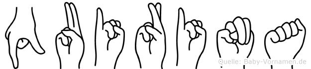 Quirina im Fingeralphabet der Deutschen Gebärdensprache