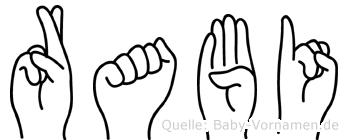 Rabi im Fingeralphabet der Deutschen Gebärdensprache