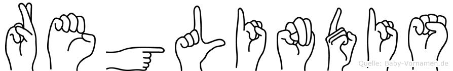 Reglindis im Fingeralphabet der Deutschen Gebärdensprache