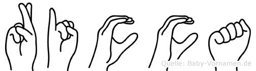 Ricca im Fingeralphabet der Deutschen Gebärdensprache