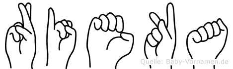 Rieka im Fingeralphabet der Deutschen Gebärdensprache