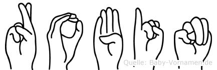 Robin im Fingeralphabet der Deutschen Gebärdensprache