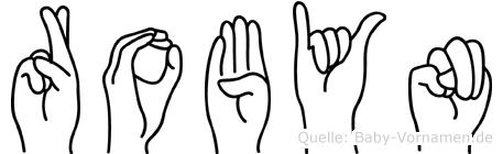 Robyn im Fingeralphabet der Deutschen Gebärdensprache