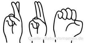 Rue in Fingersprache für Gehörlose